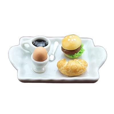 HShyxlkj Mini Huevo Hamburguesa Pan café Placa casa de muñecas Miniatura Modelo Juguete decoración: Hogar