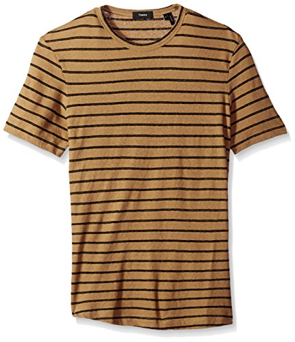 Theory Men's Striped Short Sleeve Tee, Saddle/Multi, S
