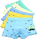 2-8 Years Boy's Funny Mustache Boxer Briefs Novelty Organic Cotton Underwear 5 Multipack