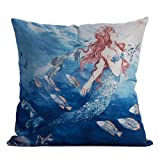 DODOING 18 x 18 inch Home Decorative Cotton Linen Square Throw Pillow Case Cushion Cover Mermaid Ocean Park Theme(Not include pillow inner)
