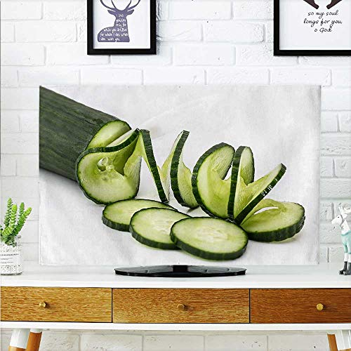 aolankaili Dust Resistant Television Protector Cucumber Slicing Art tv dust Cover W25 x H45 INCH/TV 47