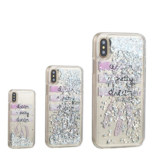 iPhone XS Case,iPhone X Case, UZER Cute Fashion Creative Shockproof Bling Quicksand Moving Flowing Floating Luxury Twinkle Glitter Shining Sparkle PC Hard TPU Bumper Liquid Case for iPhone XS/iPhone X (Otterbox Leopard Cover Case Pink)