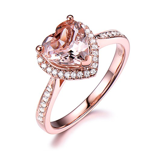 Heart Shaped Pink Morganite Engagement Ring 925 Sterling Silver Rose Gold CZ Diamond Halo Bridal Ring by Milejewel Morganite Engagement Ring