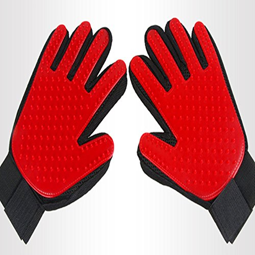 NEW BARLEY Pet Grooming Glove 2-in-1 Dog Hair Remover Mitt Gentle Deshedding Brush and Massage Tool Perfect for Dogs & Cats with Long & Short Fur Red