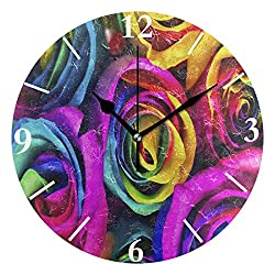 SLHFPX Wall Clock Rainbow Rose Flower Oil Painting Silent Non Ticking Decorative Round Digital Clocks for Home/Office/School Clock