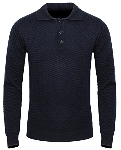 P.A Young Mens Polo Sweater Textured Knit 3 Button Long Sleeve Slim Fit Navy