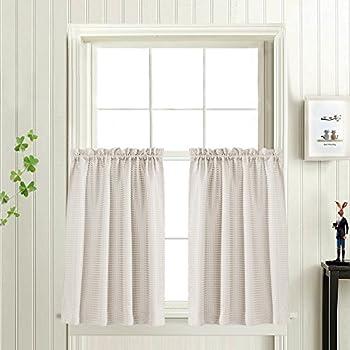 Waffle Woven Half Window Curtains Kitchen Tier Curtains Water Proof Window  Curtain Set For Bathroom