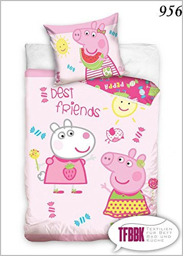 2 tlg Kinderbettwäsche 100x135 40x60 Disney 956 Peppa Pig George