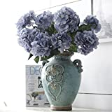 Crt Gucy Artificial Flowers 18″ Silk 6 Big Heads Fake Silk Hydrangea Bouquet for Wedding, Room, Home, Hotel, Party Decoration and Holiday Gift, Blue
