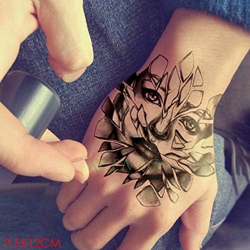 5pcs Tatuaje Impermeable Etiqueta Negro Hoja de la Flor de la ...