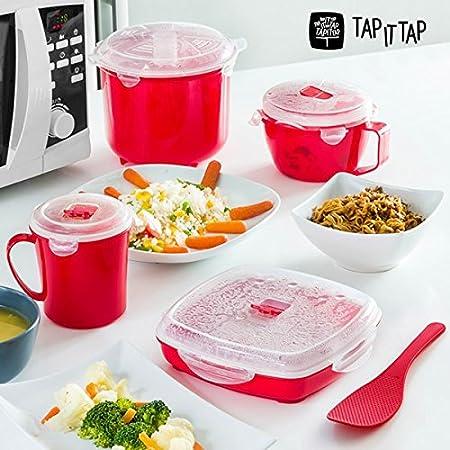 Appetitissime Tap It Tap - Set de Cocina Al Vapor para Microondas (11 piezas) Rojo: Amazon.es: Hogar