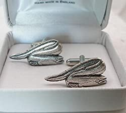 Solid Pewter Eel Cufflinks with Gift Box