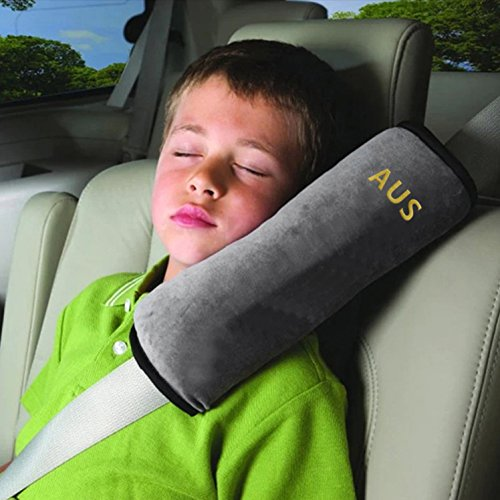 Seatbelt Pillow,Car Seat Belt Covers for Kids,Adjust Vehicle Shoulder Pads,Safety Belt Protector Cushion,Plush Soft Auto Seat Belt Strap Cover Headrest Neck Support for Children Baby Adult (Gray) Car Seat Belt Cover Pad