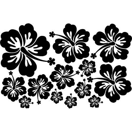 Lot de 13 stickers hibiscus couleur noir
