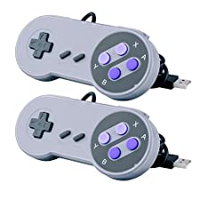 2 Packs USB Controller for Classic Super Nintendo NES SNES, USB Famicom Controller Joypad Gamepad for Laptop Computer Windows PC / MAC / Raspberry Pi (Black)