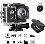Sports Action Camera IAMWAY Ultra HD 30 Meter 1080P Waterproof DV Camcorde 2.0 inch LCD Screen Sport DV, Giveaway Free Of Portable Travel Case For Earpieces,USB cables,Chargers,Coins etc.(Black 1080P)