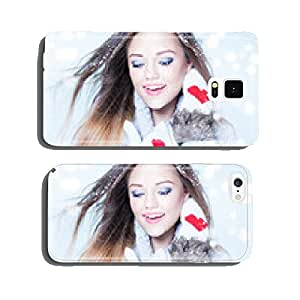 Young woman wearing winter gloves covered with snow flakes cell phone cover case iPhone6 Plus