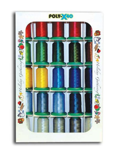 Poly X 40 Embroidery Machine Thread 25 Spool Holiday Colors Set by Poly X 40