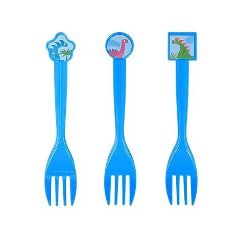 BESTONZON 10 Tenedores de plástico Desechables con patrón de Dinosaurio, Cubiertos de Cubiertos para Viajes