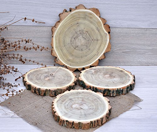(FOUR 8.4''-10'' ACACIA Wood Slices Rustic Cake Stand Wooden Cupcake Stand Rustic Wedding Decorations Wood Centerpiece Rustic Baby Shower Decoration Cupcake Holder Wood Slab Tapas Board Serving Tray)