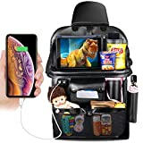 Car Backseat Organizer with 4 USB Port, Multifunctional Premium PU Leather Travel Car Storage Bags with Foldable Tray, iPad Phone Umbrella Bag, Tissue Box, 3 Mesh Bags, 1 Large Bag