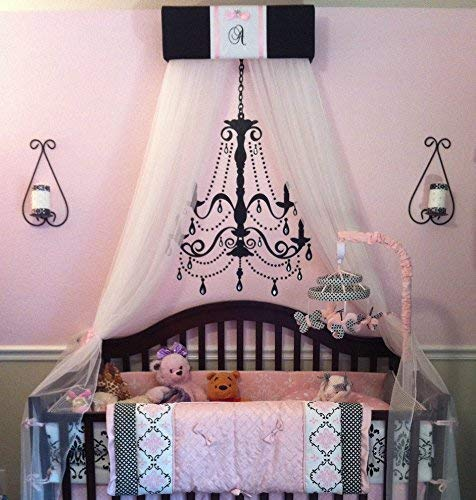 Crib Nursery Embroidered Personalized Bed Canopy Black Pink Paris FREE Sale So Zoey Boutique (Paris Crib Bedding Set)