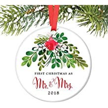 """Mr & Mrs Ornament 2018, First Christmas as Mr & Mrs, 1st Married Christmas Porcelain Ornament, 3"""" Flat Circle Christmas Ornament w Glossy Glaze, Red Ribbon & Free Gift Box   OR00044 Loughlin"""