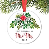 Mr & Mrs Ornament 2018, First Christmas as Mr & Mrs, 1st Married Christmas Porcelain Ornament, 3' Flat Circle Christmas Ornament w Glossy Glaze, Red Ribbon & Free Gift Box | OR00044 Loughlin