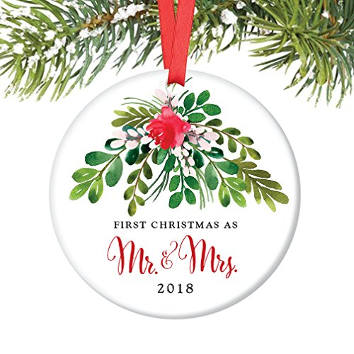 18, First Christmas as Mr & Mrs, 1st Married Christmas Porcelain Ornament, 3