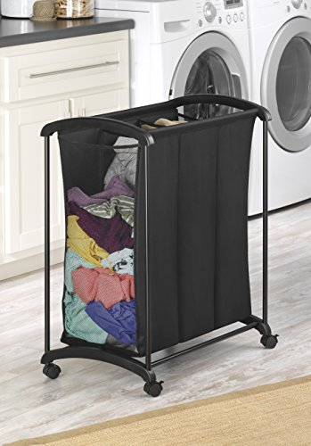 Laundry Basket On Wheels With 3 Section Rolling Cart
