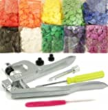 Original KAMsnaps Starter Pack: 100 Size 20 KAM Snaps & Snap Press Pliers for Plastic Snaps No-Sew Buttons Fastener Setter Hand Tool for Cloth Diapers Clothing (Rainbow White)