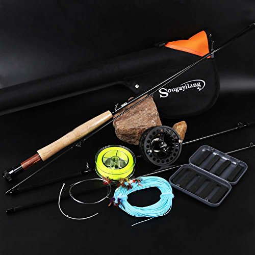 Fly Fishing Combo. Sougayilang Saltwater Freshwater Fly Fishing Rod with Reel Combo Kit (Black Kits with Bag)