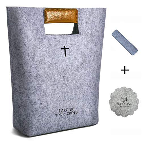 FREEALIVE Bags Bible Carrying Case Felt Bible Cover for Women Christian Bible Tote Carved Cross Holy Bible Bag Tote Church Bible Study Case Bible Briefcase Christian Gifts (Light Gray) ()