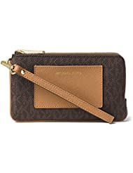 MICHAEL Michael Kors Bedford Medium Double Zip Wristlet Brown Peanut