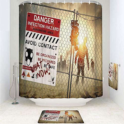 (Polyester Fabric Bathroom Shower Curtain Set with Hooks,Dark Danger Scary Scene Fiction Halloween Infection,3pcs Set with Shower Curtain Bath Towel Non-Slip mat for Home Decor)