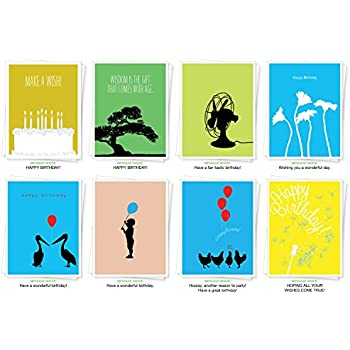 Assorted Best Selling Silhouette Birthday Cards Set Of 8 Greeting