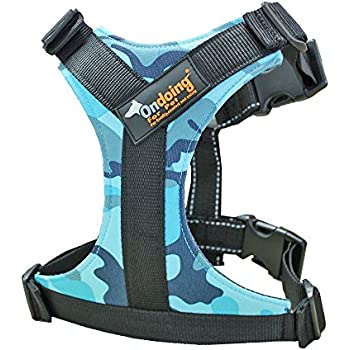Ondoing Dog Harness No Pull Pet Vest with Handle Adjustable Reflective Easy Control for Small Medium Large Dog, Camo Blue, Large