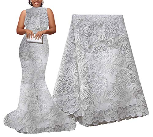 African Lace Fabric 5 Yards Guipure Lace Tulle Embroidered Mesh Lace Fabric for African Wedding,Grey,China