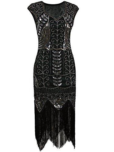 Vijiv 1920s Vintage Sequin Art Deco Embellished Fringe Long Prom Flapper Dress,Small,Green