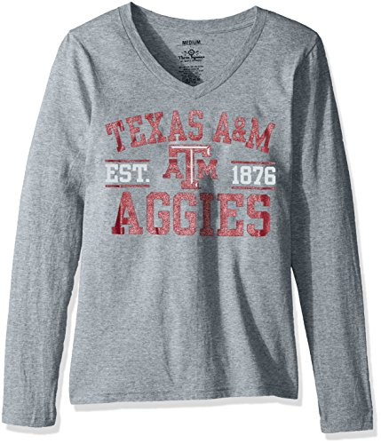 NCAA Texas A&M Aggies Junior's Tribune Long Sleeve T-Shirt, Small, Grey
