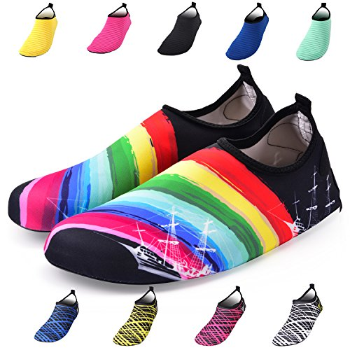 Bridawn Water Dry and Barefoot Women Shoes Rainbow Socks Quick Shoes for Men w4qUS