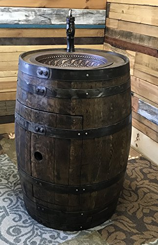 Whiskey Barrel Copper Sink Vanity with Antique Waterfall Faucet