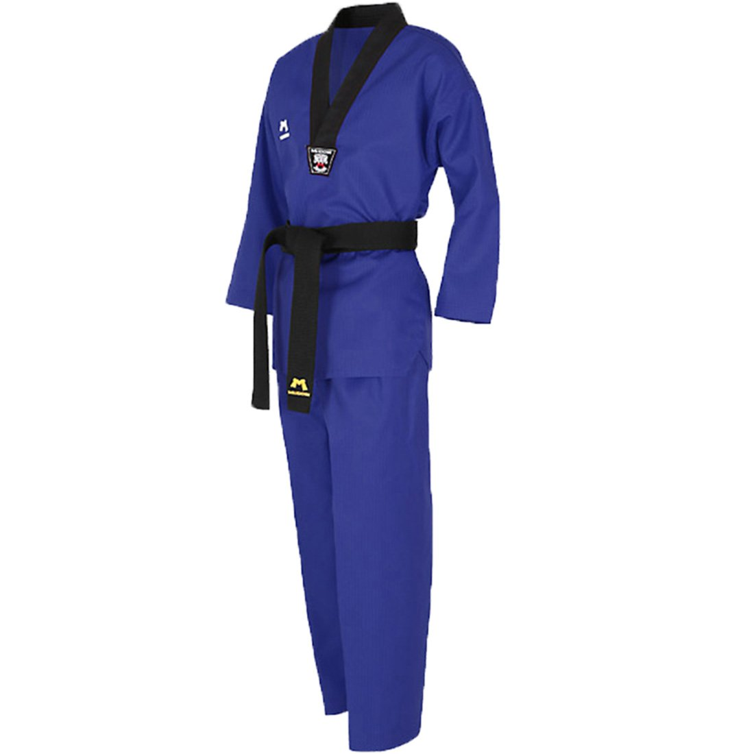 Mudoin Taekwondo 3 Color Uniform for Adults V-Neck Blue Red Black TKD Martial Arts Akido Hapkido WTF (180(170-180cm)(5.57-5.90ft), Blue) by Mudoin