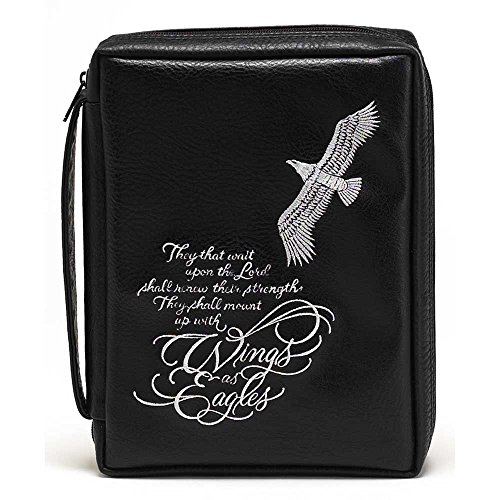 - Bald Eagle Black Embroidered Leather Like Vinyl Bible Cover Case with Handle Large