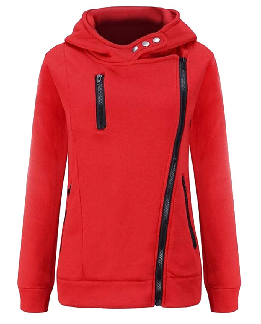 YUNY Women Classic Fit Long Sleeve Fleece Lined Juniors Hoodies Red XL