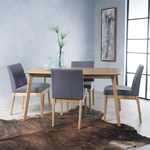 Christopher Knight Home Katherine Dark Grey Fabric/Natural Oak Finish 5 Pc Dining Set, Brown (Dining Piece Grey Set 5)
