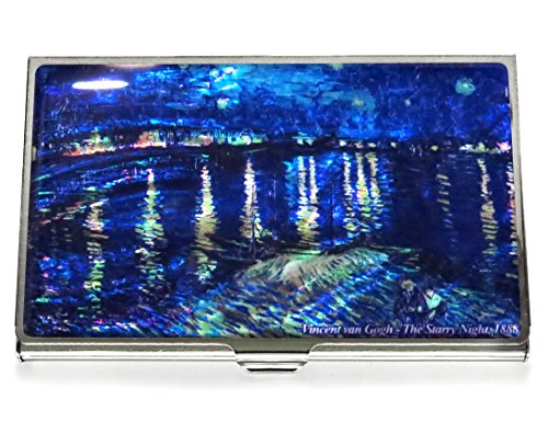Van Gogh Starry Night Over the Rhone Blue Business Credit Card Case Id Holder Metal Travel Wallet Mother of Pearl ()