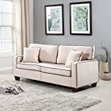 (US) Divano Roma Furniture Collection - Modern Two Tone Velvet Fabric Living Room Love Seat Sofa - Various Colors (Beige)