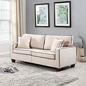 Divano Roma Furniture Collection - Modern Two Tone Velvet Fabric Living Room Love Seat Sofa - Various Colors (Beige)