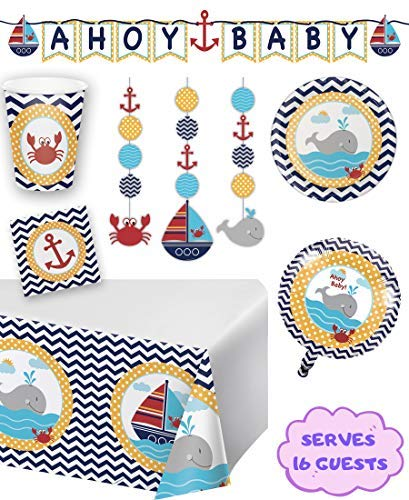 Nautical Baby Shower Party Supplies and Decorations for 16 Guests - Table Cover, Balloon, Baby Shower Banner, Plates, Matey Napkins, Hanging Cutouts and Paper Anchor -